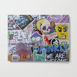 Sticker Collage Number Three Metal Print