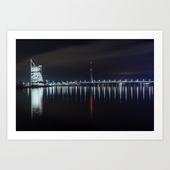 Bridge at evening Art Print