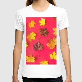 Autumn Leaves on Flat Red Background T-shirt