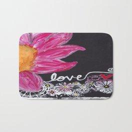 PINK FLOWER LOVE Bath Mat