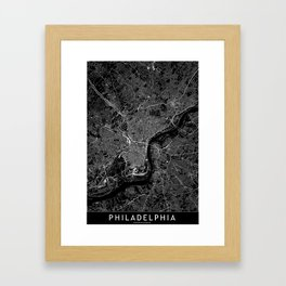 Philadelphia Black Map Framed Art Print