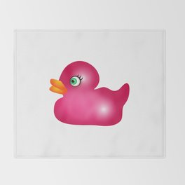 Pink Rubber Duck Toy Throw Blanket