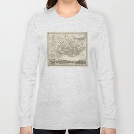 Vintage Map of Lisbon Portugal (1844) Long Sleeve T-shirt