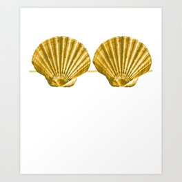 Mermaid Seashell Bra Summer Beach Funny Fake Shell Art Print