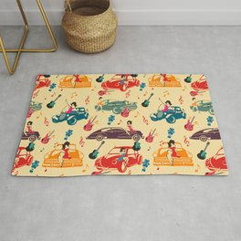 Rockabilly Mania Hot Rods and Pin Ups Rug