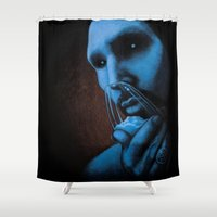 cocaine Shower Curtains featuring Cocaine Blue by Michal Szyksznian