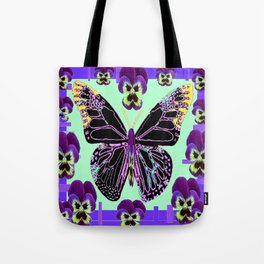 Black Butterfly Jade Green with Purple Violas Abstract Design Tote Bag