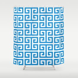 Bright Blue and White Greek Key Pattern Shower Curtain