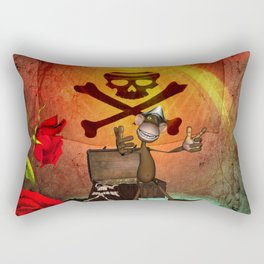 Funny pirate monkey with flag Rectangular Pillow