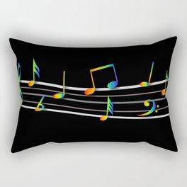 Rainbow Music Notes on Black Rectangular Pillow
