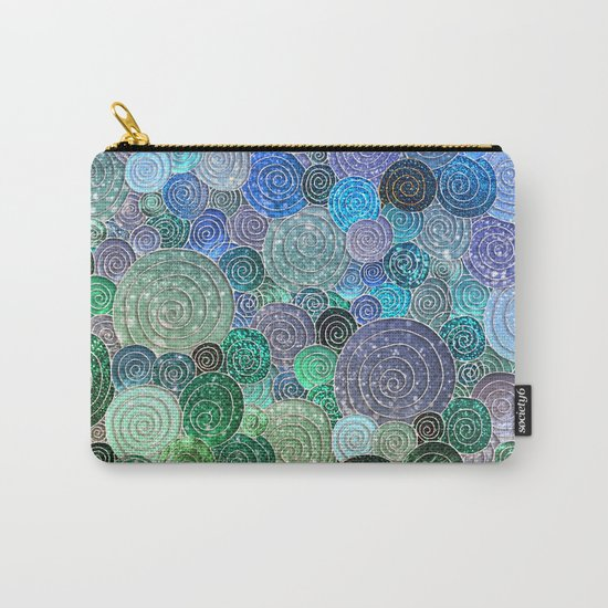 Abstract blue& green glamour glitter circles and polka dots for ladies Carry-All Pouch
