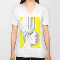 yellow pattern V-neck T-shirts featuring Yellow by Raxa Russian Roulette