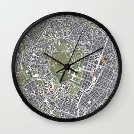 Tokyo city map engraving Wall Clock