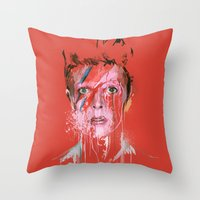 bowie Throw Pillows featuring Bowie by Marcello Castellani