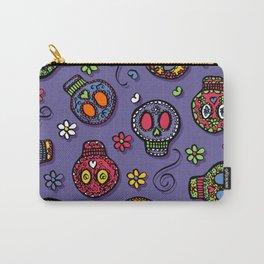 Sugar Skulls (on purple) - calavera, skull,  halloween, illustration Carry-All Pouch