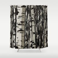 birch Shower Curtains featuring Birch by LeahOwen