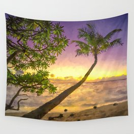 Tropical sunset beach with palms Wall Tapestry