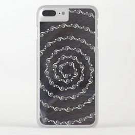 Sol key swirl on chalkboard Clear iPhone Case