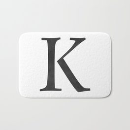 Letter K Initial Monogram Black and White Bath Mat