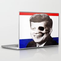 jfk Laptop & iPad Skins featuring JFK SKULL PORTRAIT by Joedunnz