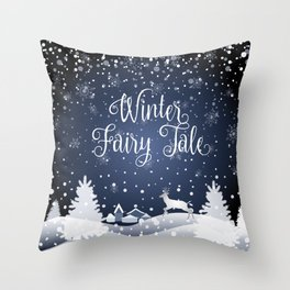 Christmas Winter Fairy Tale Fantasy Snowy Forest - Collection Throw Pillow