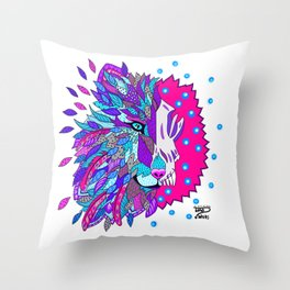 Wolf with Feathers Spirit Animal Pop Art Print Bold Throw Pillow
