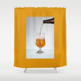 Fresh beer filling glass on stem Shower Curtain