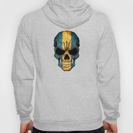 Dark Skull with Flag of Barbados Hoody