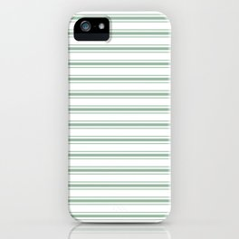 Mattress Ticking Wide Horizontal Striped Pattern in Moss Green and White iPhone Case
