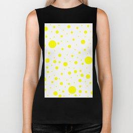 Mixed Polka Dots - Yellow on White Biker Tank