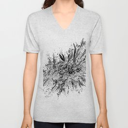 eye doodle, abstract sketch with eyes Unisex V-Neck