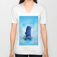 walrus V-neck T-shirts featuring Cute walrus  by nicky2342