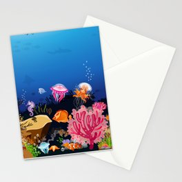 Beautiful Coral Reef Animals Stationery Cards