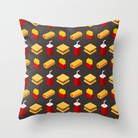 junk food Throw Pillows featuring Isometric junk food pattern by Irmirx