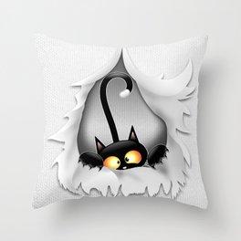 Fun Cat Cartoon in ripped fabric Hole Throw Pillow