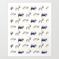 Wild Pattern // Blue Art Print