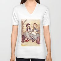 shit V-neck T-shirts featuring Dorothy and Alice by Helen Green