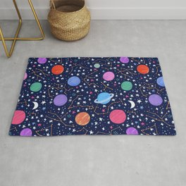 Astrology Zodiac Constellation in Midnight Blue Rug