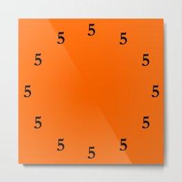 Black Five o'Clock Somewhere on Orange Metal Print