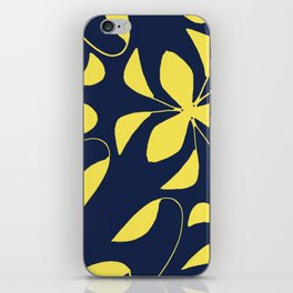 Leafy Vines Yellow and Navy Blue iPhone Skin