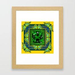 YELLOW  DECORATIVE  GREEN EMERALD GEM & BUTTERFLY ART Framed Art Print