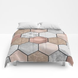 Marble hexagons and rose gold on black Comforters