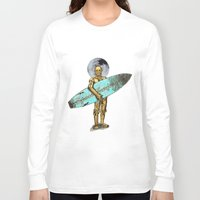 surfer Long Sleeve T-shirts featuring Space Surfer by Diego Tirigall