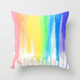 Rainbow Watercolor Drip Throw Pillow