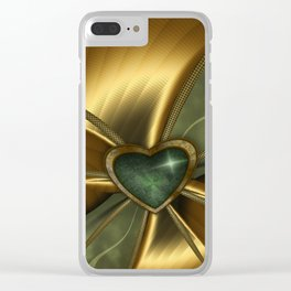 Malachite Heart On Gold Clear iPhone Case