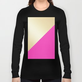 Modern hot pink & gold color block Long Sleeve T-shirt