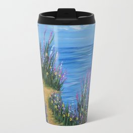 One Path, Ocean Seascape, Modern Impressionism, Beach Art Travel Mug