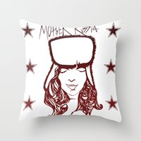 russia Throw Pillows featuring Mother Russia by Hoolianne