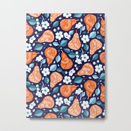 Cheerful Pears in Orange on Navy Blue Metal Print