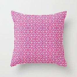 Hot Pink and White Greek Key Pattern Throw Pillow